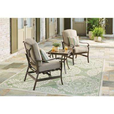 Wilshire Estates Outdoor Patio Aluminum Lounge Chair with Sunbrella Gray Cushions (2-Pack)