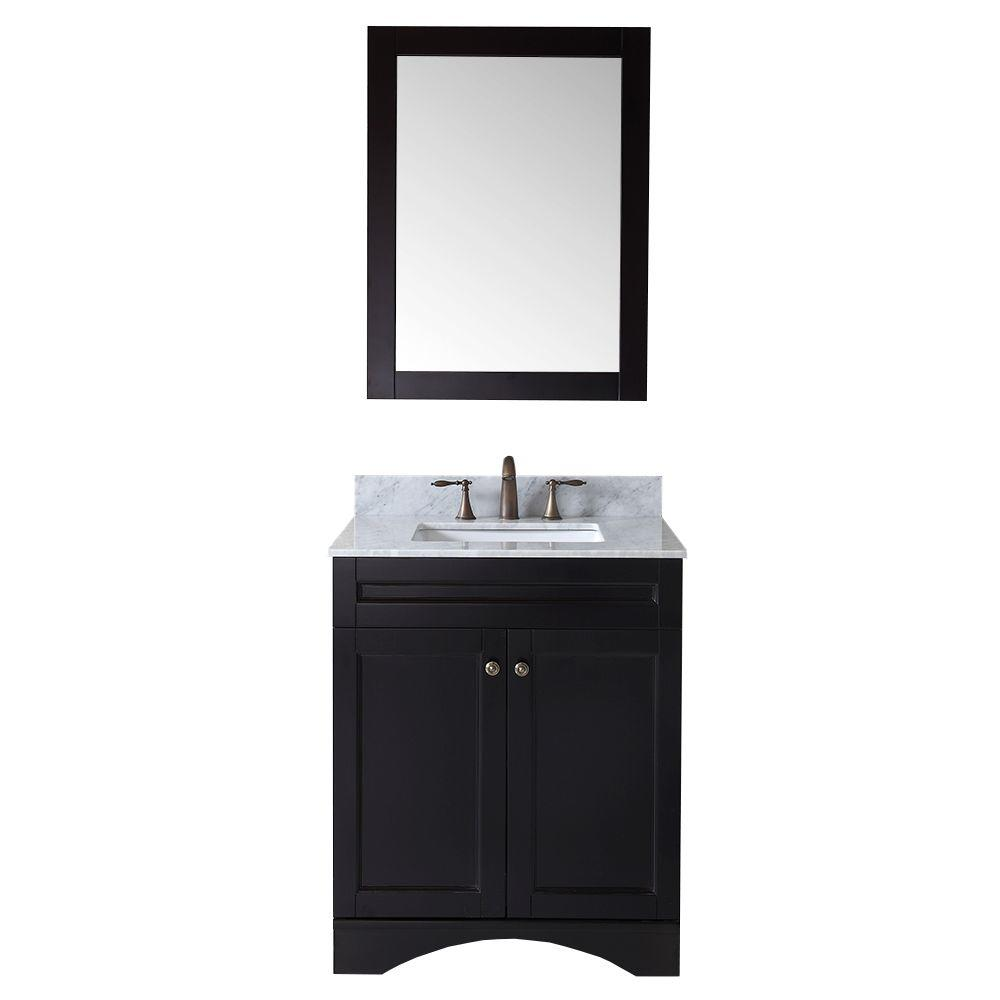Virtu USA Talisa 30 in. Vanity in Espresso with Marble Vanity Top in Italian Carrara White-DISCONTINUED