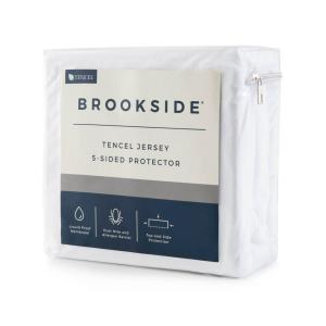 Click here to buy Brookside Tencel Jersey Polyester Fabric 5-Sided California King Mattress Protector by Brookside.