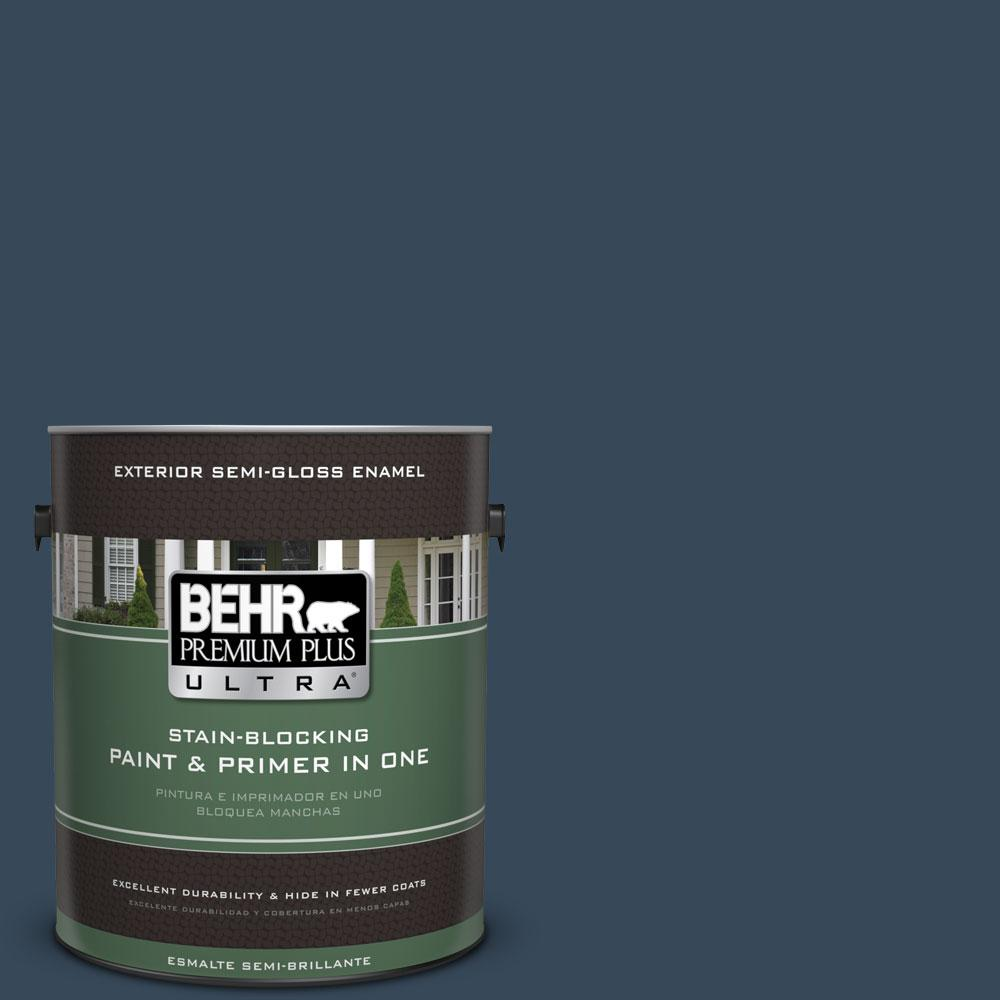 1-gal. #ECC-30-3 Night Tide Semi-Gloss Enamel Exterior Paint