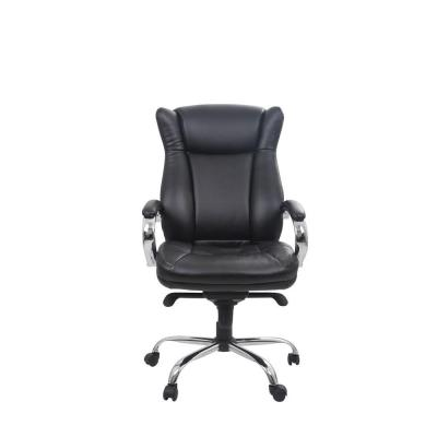 Classic Bonded Leather High Back Executive Office Chair with Adjustable Height, Black