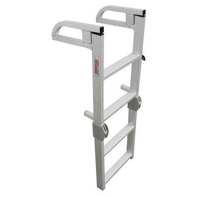 Aluminum 4-Step Compact Folding Pontoon Boarding Ladder