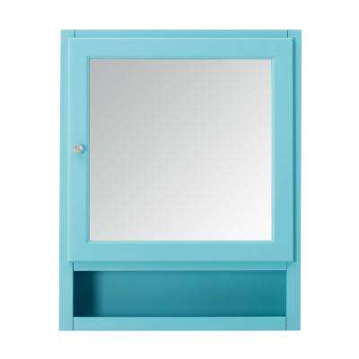 Ridgemore 24 in. x 30 in. x 6.5 in. Makeup Mirrored Wall Cabinet in Sea Glass