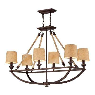 Natural Rope 6-Light Aged Bronze Ceiling Mount Chandelier