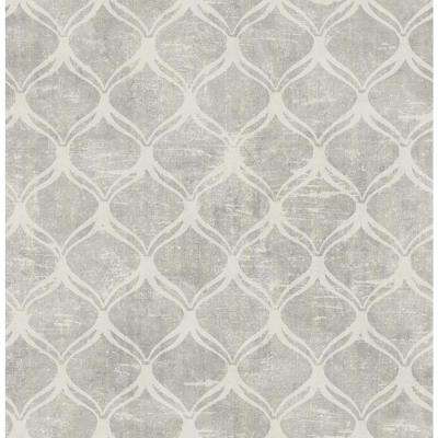 8 in. x 10 in. Bowery Silver Ogee Wallpaper Sample