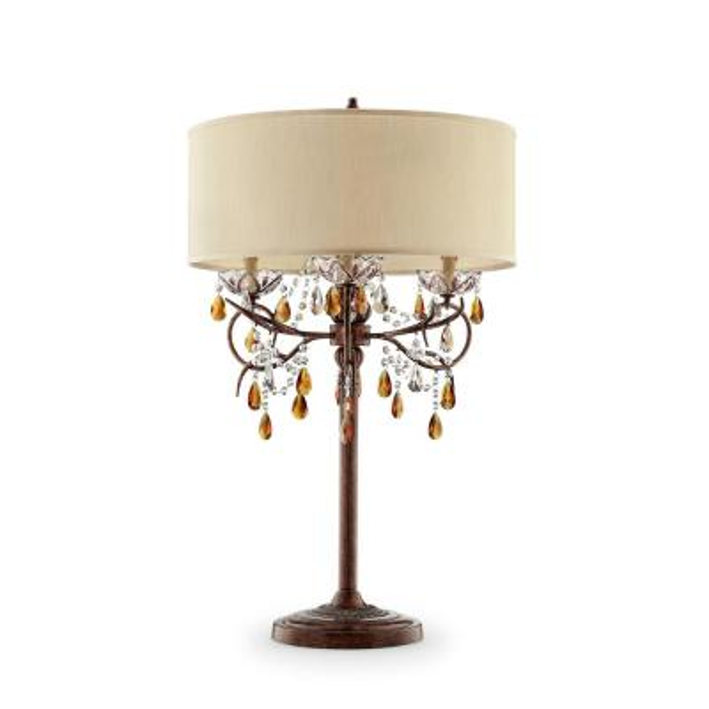 36.25 in. Magnolia Bronze Crystal 4-Light Candelabra Table Lamp