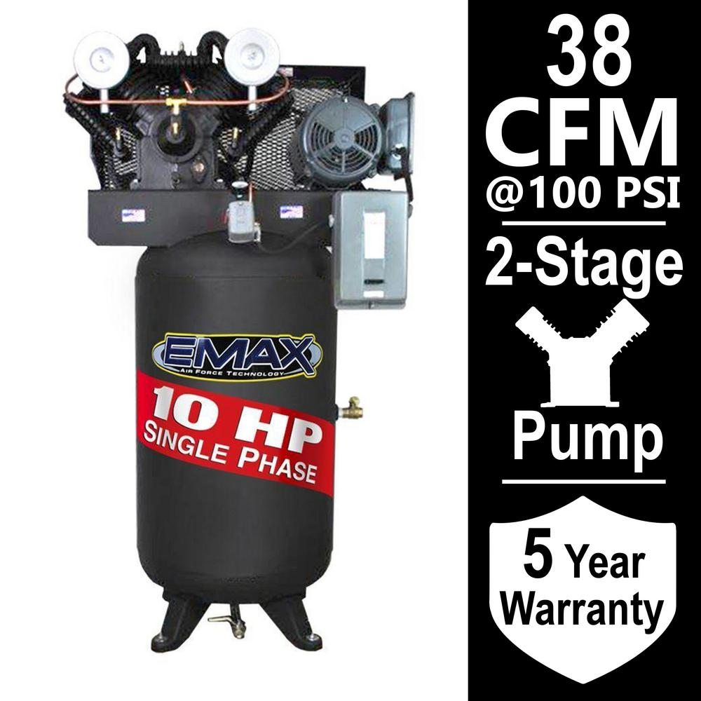EMAX Industrial Series 80 Gal. 10 HP 1-Phase Electric Air Compressor