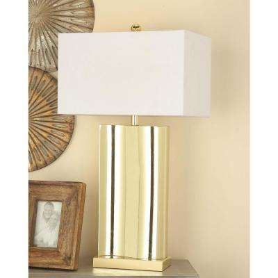29 in. Classic USB-Inspired Gold Metal Table Lamp