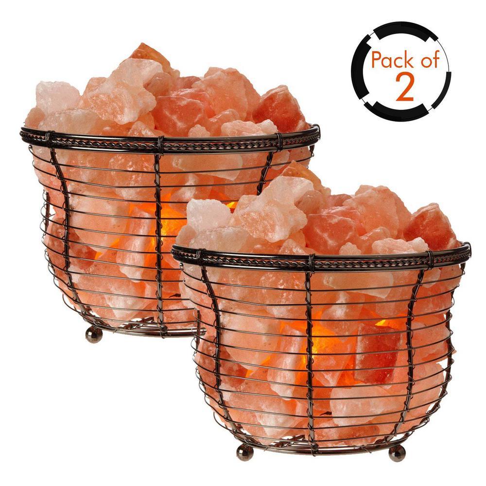 7.25 in. Natural Crystal Tall Basket Salt Lamp (Pack of 2)