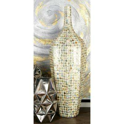 30 in. Natural Beige and Gray Shell and Polystone Decorative Vase