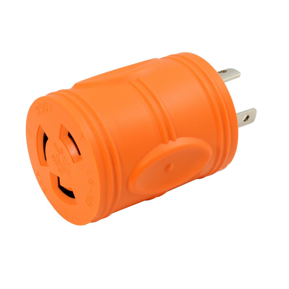 Plug Adapter L6-20P 20 Amp 250-Volt Male Plug to L6-30R 30