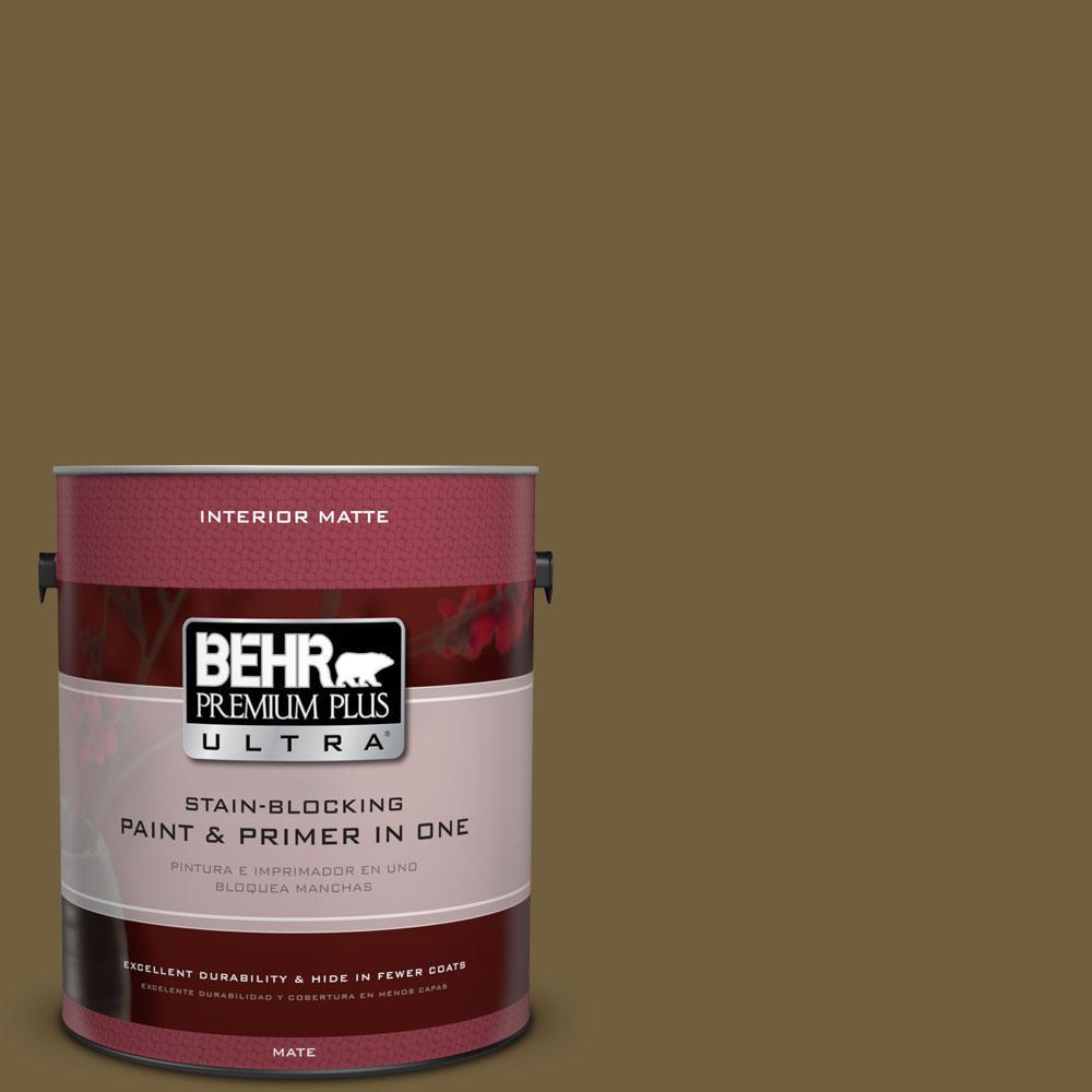 1 gal. #360F-7 Olive Shadow Flat/Matte Interior Paint