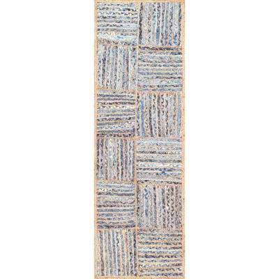 Elva Striped Farmhouse Jute Blue 3 ft. x 8 ft. Runner