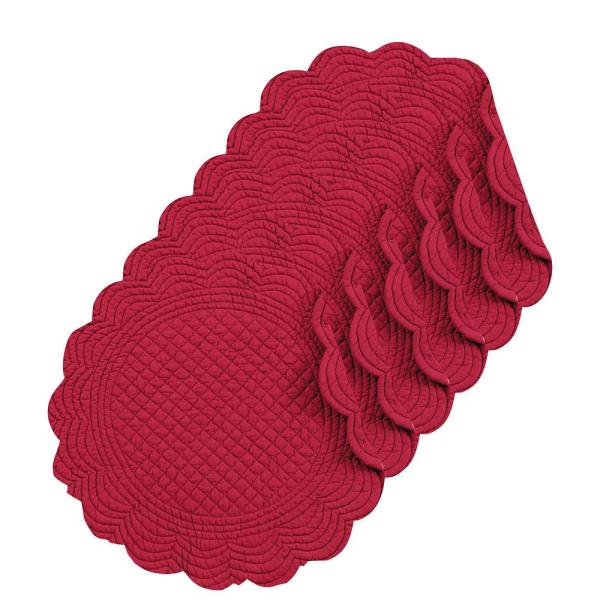C F Home Burgundy Round Placemat Set