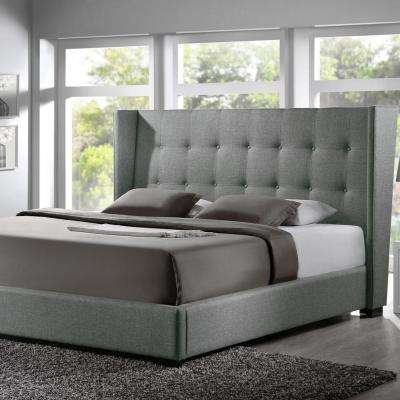 Favela Transitional Gray Fabric Upholstered King Size Bed