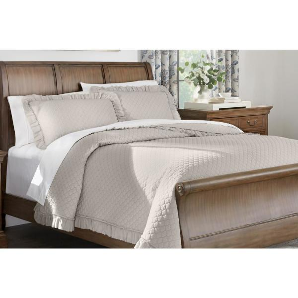 Home Decorators Collection Evalee Cotton Ruffled 3-Piece Biscuit Solid Full/Queen Quilt Set