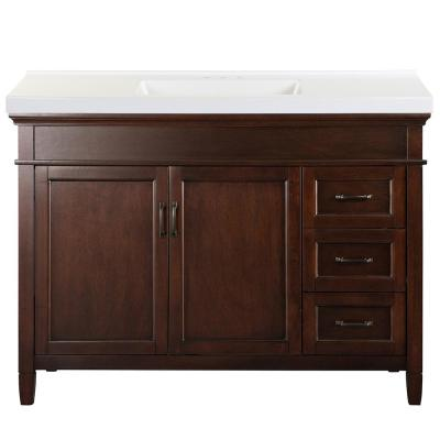 Ashburn 49 in. W x 22 in. D Bath Vanity in Mahogany with Cultured Marble Vanity Top in White with White Sink