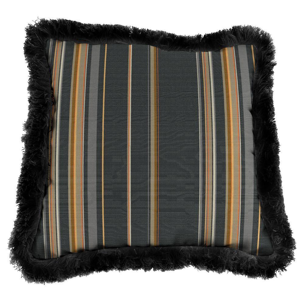 Jordan Manufacturing Sunbrella Stanton Greystone Square Outdoor Throw  Pillow With Black Fringe