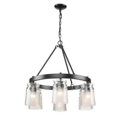 Travers 6-Light Black Chandelier Light with Clear Frosted Artisan Glass Shade