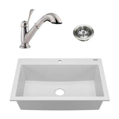 Camille All-in-One Drop-In Granite Composite 33 in. 1-Hole Single Bowl Kitchen Sink with Faucet and Strainer Matte White