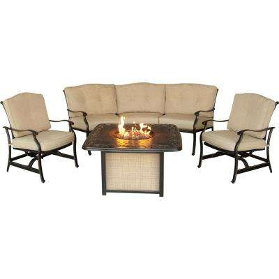 Concord 4-Piece Aluminum Outdoor Conversation Set with Tan Cushions and Cast-Top Fire Pit Table