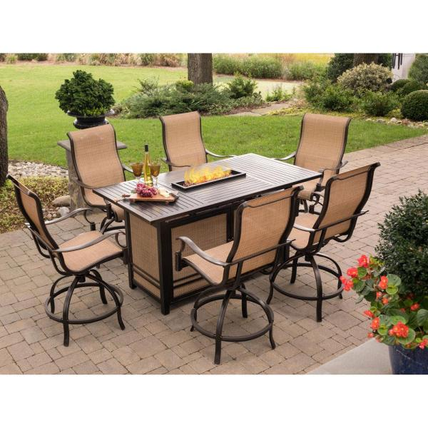 Agio Somerset 7 Piece Rectangular Outdoor Bar Height Dining Set With Fire Feature And Swivels Somdn7pcfp Bar The Home Depot