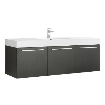 Vista 60 in. Modern Wall Hung Bath Vanity in Black with Vanity Top in White with White Basin