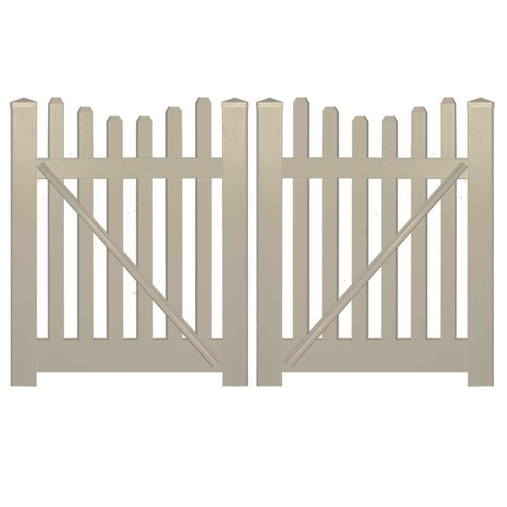 Hampshire 8 ft. W x 4 ft. H Khaki Vinyl Picket Fence Gate