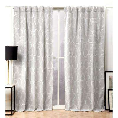 Circuit Dove Grey Blackout Hidden Tab Top Curtain Panel - 52 in. W x 84 in. L (2-Panel)