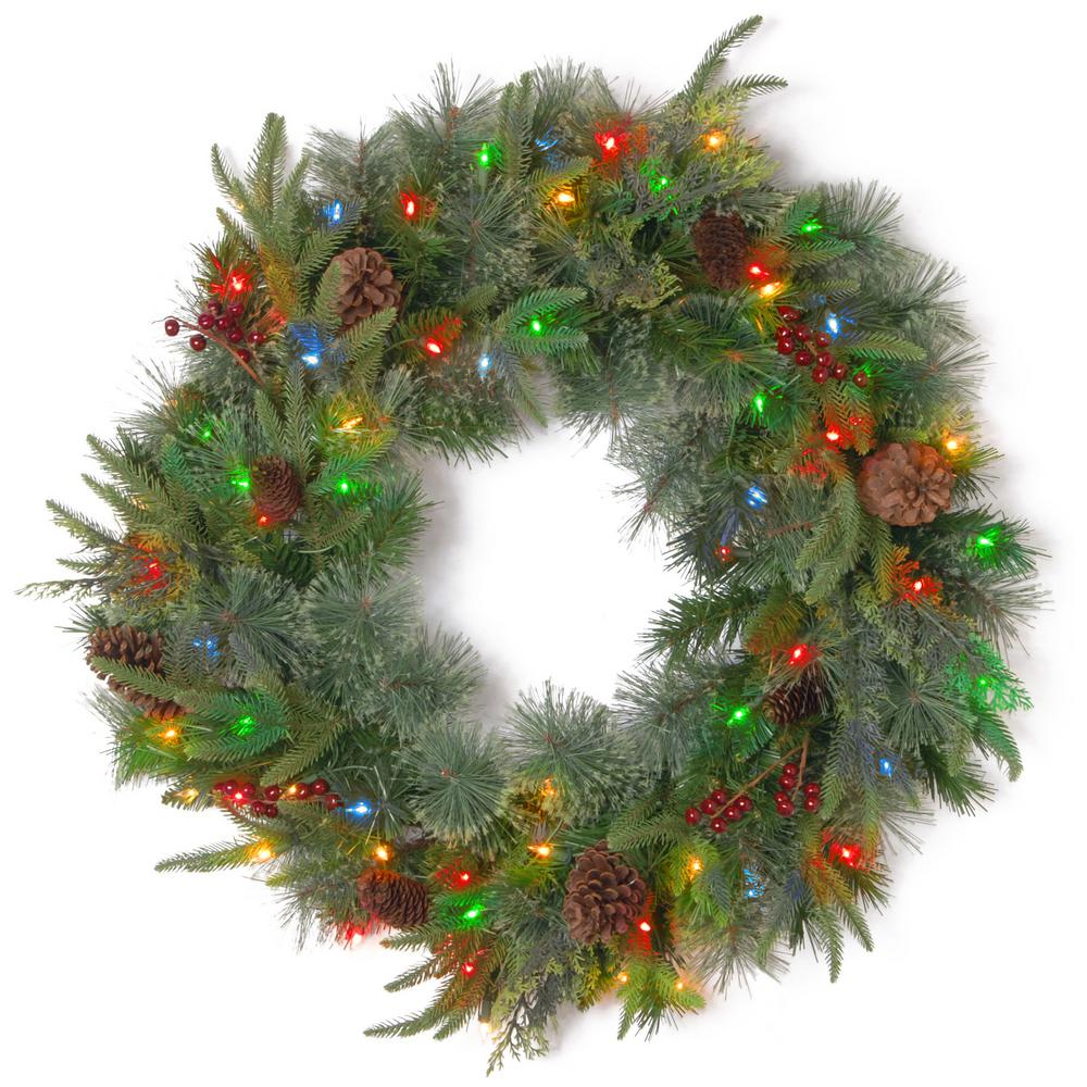colonial artificial wreath with battery operated dual color led lights