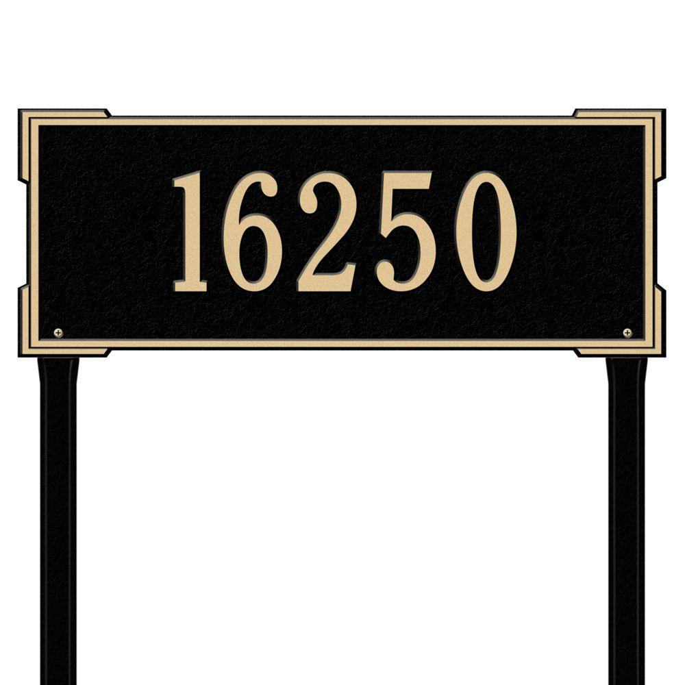 Whitehall Products Rectangular Roanoke Estate Lawn 1-Line Address Plaque - Black/Gold