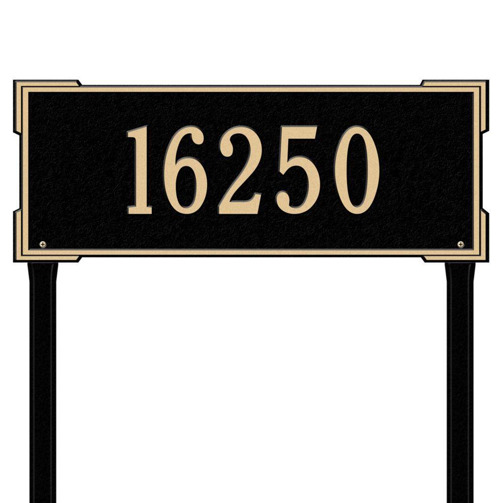 Rectangular Roanoke Estate Lawn 1-Line Address Plaque - Black/Gold