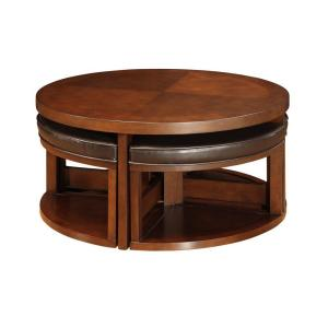 Great HomeSullivan Warm Brown Cherry Coffee Table 403292 01(MTL)   The Home Depot