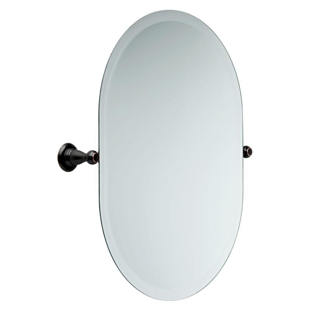 Frameless Oval Bathroom Mirror with Beveled Edges in Oil Rubbed Bronze