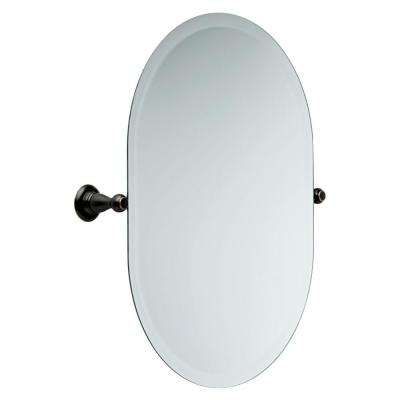 Porter 26 in. x 23 in. Frameless Oval Bathroom Mirror with Beveled Edges in Oil Rubbed Bronze