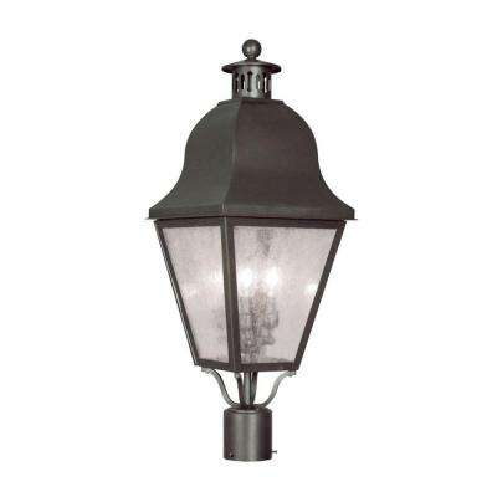 Providence 3-Light Outdoor Bronze Incandescent Post Lantern