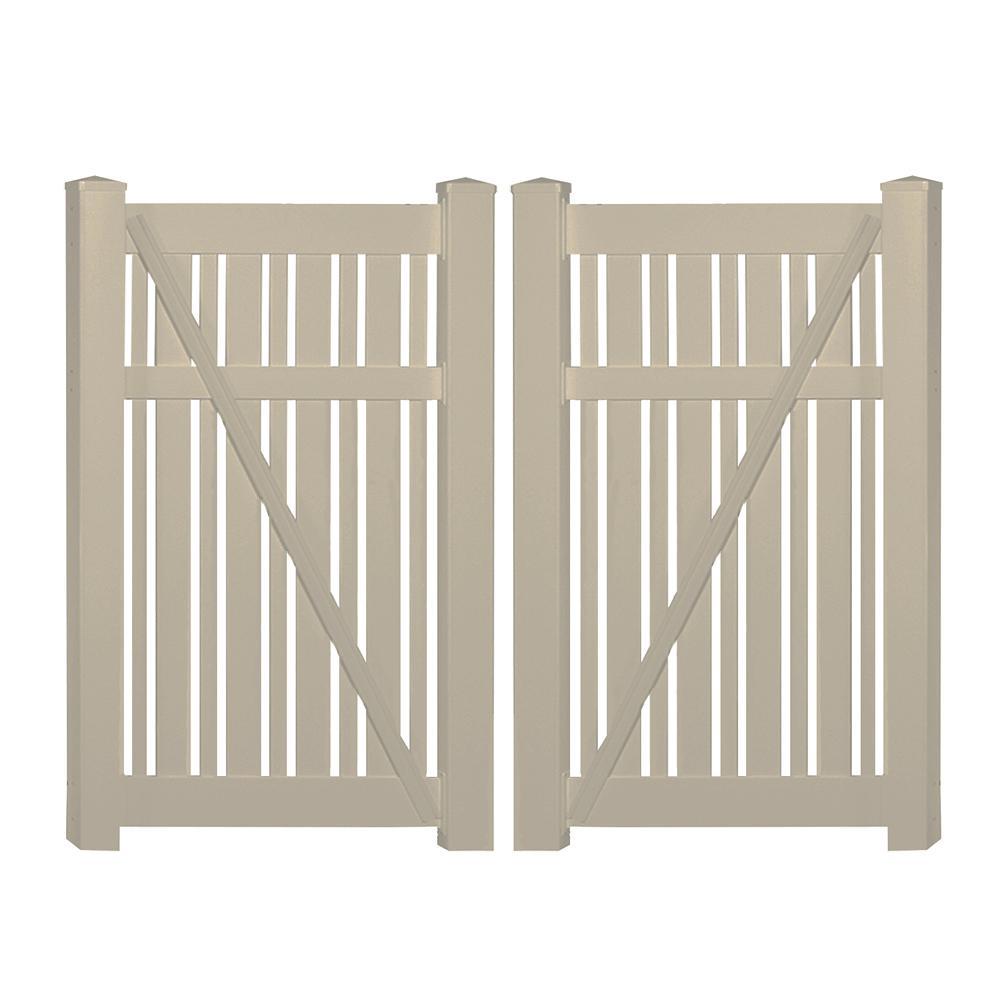 Davenport 7.8 ft. x 5 ft. Khaki Vinyl Semi-Privacy Fence Gate Kit