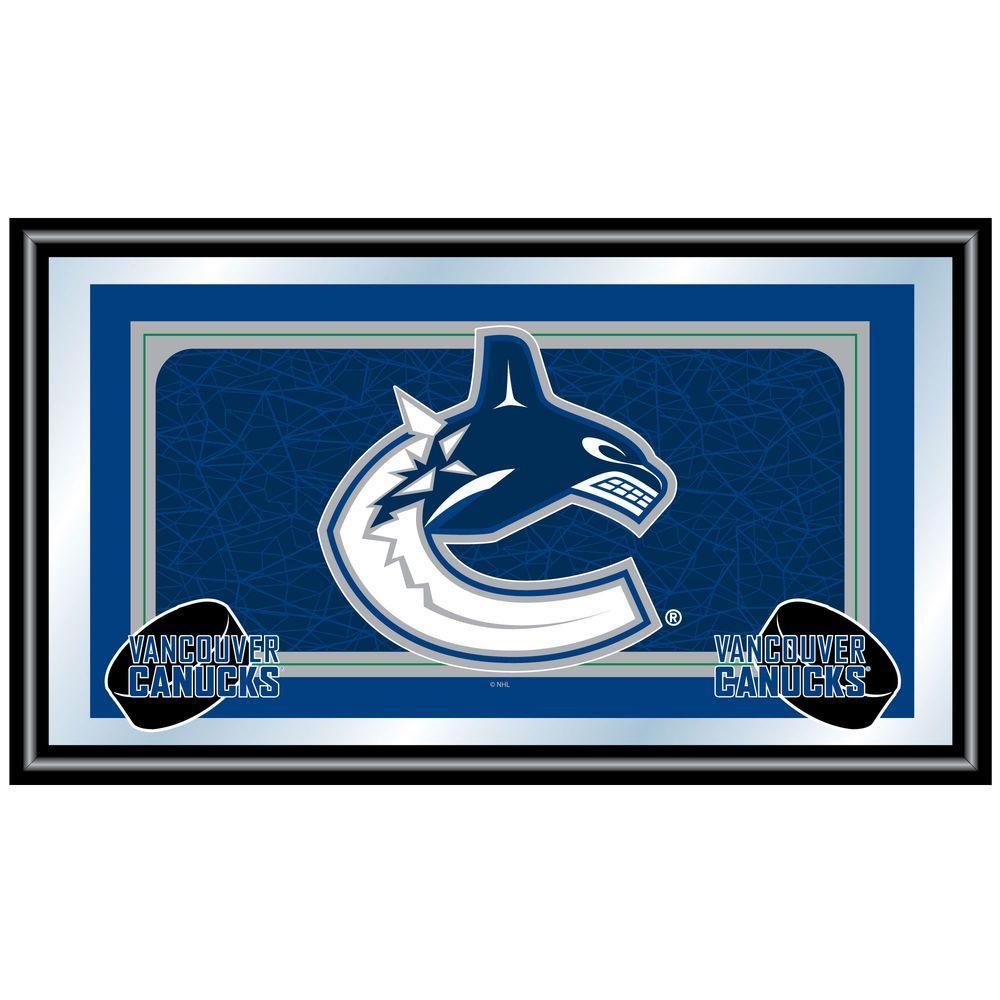 Trademark NHL Vancouver Canucks Logo 15 in. x 26 in. Black Wood Framed Mirror