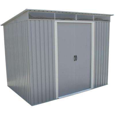 Pent Roof 8 ft. x 6 ft. Light Gray Metal Shed with Skylight