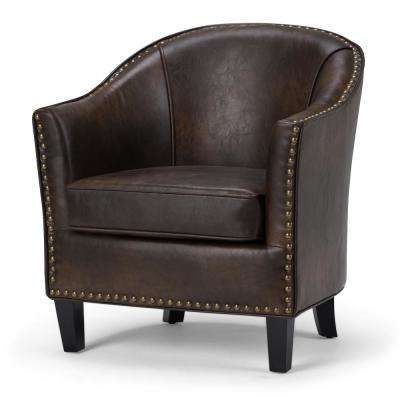 Kildare Transitional 29 in. Wide Tub Arm Chair in Distressed Brown Bonded Leather