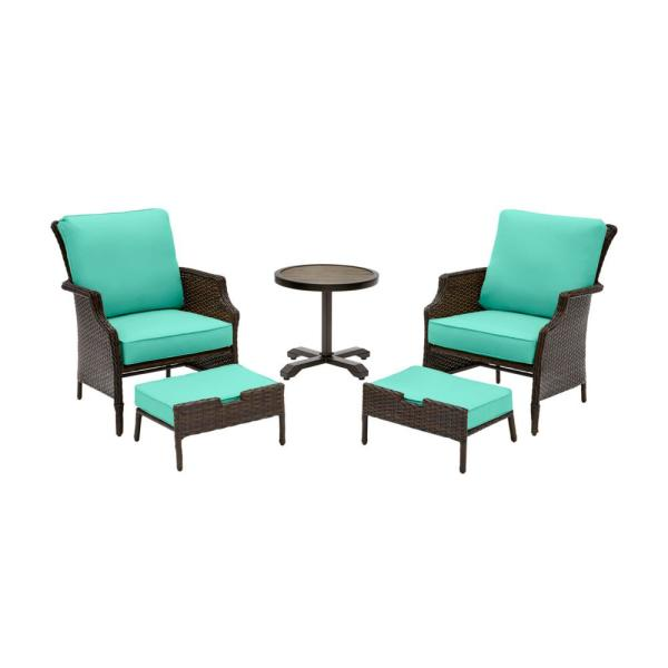 Grayson Brown 5-Piece Wicker Outdoor Patio Small Space Seating Set with CushionGuard Seaglass Turquoise Cushions
