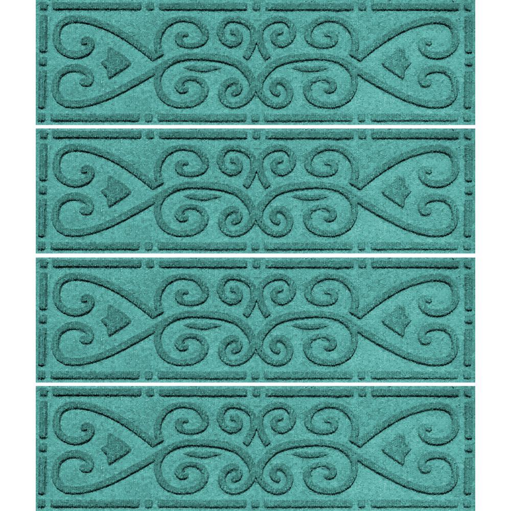 Aquamarine 8.5 in. x 30 in. Scroll Stair Tread (Set of 4)