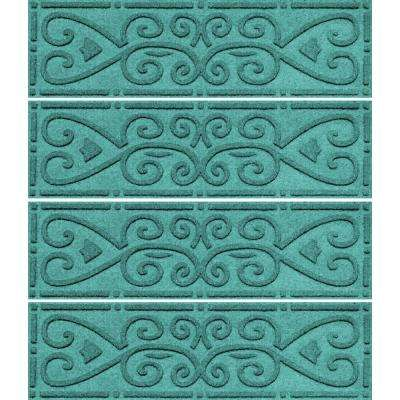 Aquamarine 8.5 in. x 30 in. Scroll Stair Tread Cover (Set of 4)