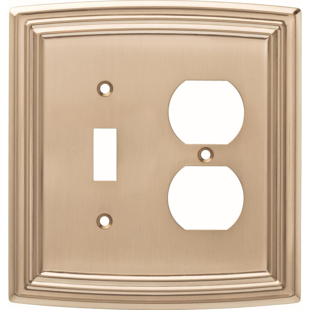 Classical 2-Gang Switch and Duplex, Champagne Bronze