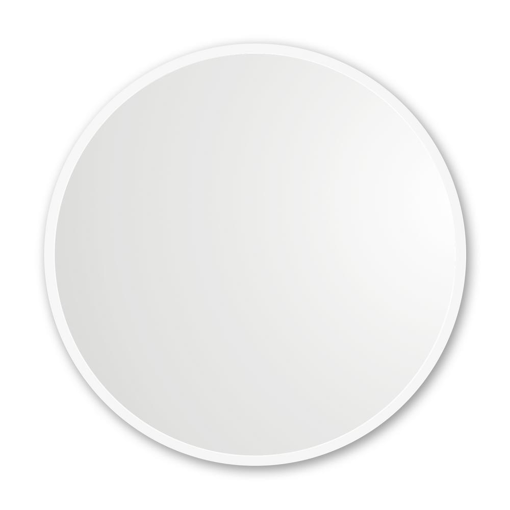 30 in. x 30 in. Rubber Framed Round Single Mirror in White