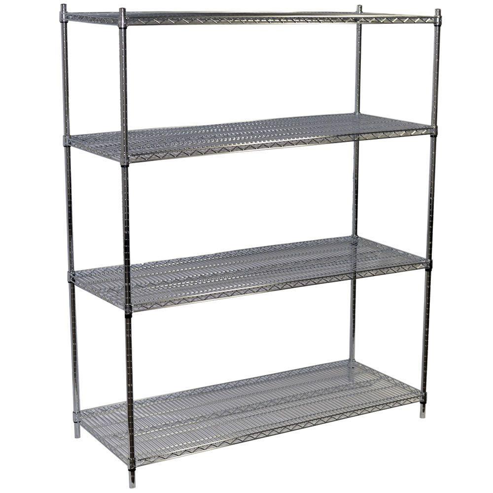86 in. H x 60 in. W x 18 in. D 4-Shelf Steel Wire Shelving Unit in Chrome
