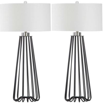 Estill 33 in. Black Metal Table Lamp with White Shade (Set of 2)
