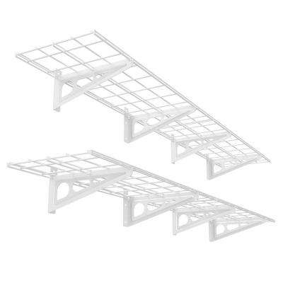 12 in. x 72 in. 2-Pack White Steel Garage Wall Shelves with Brackets