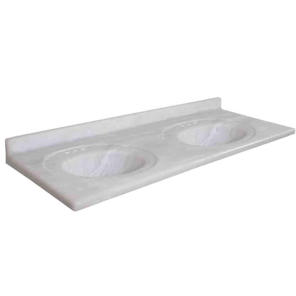 Pacific 61 in. Marble Vanity Top with Double Basin in White