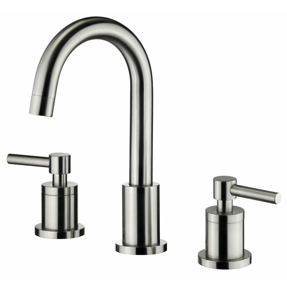 SSeries Modern 8 in. Widespread 2-Handle Medium-Arc Bathroom Faucet with Swivel Spout in Brushed Nickel